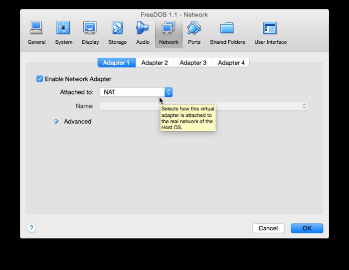 VirtualBox - Networking with NAT - FreeDOS
